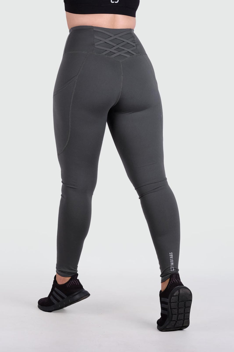 Strappy V2 Highwaisted Leggings - Slate Grey