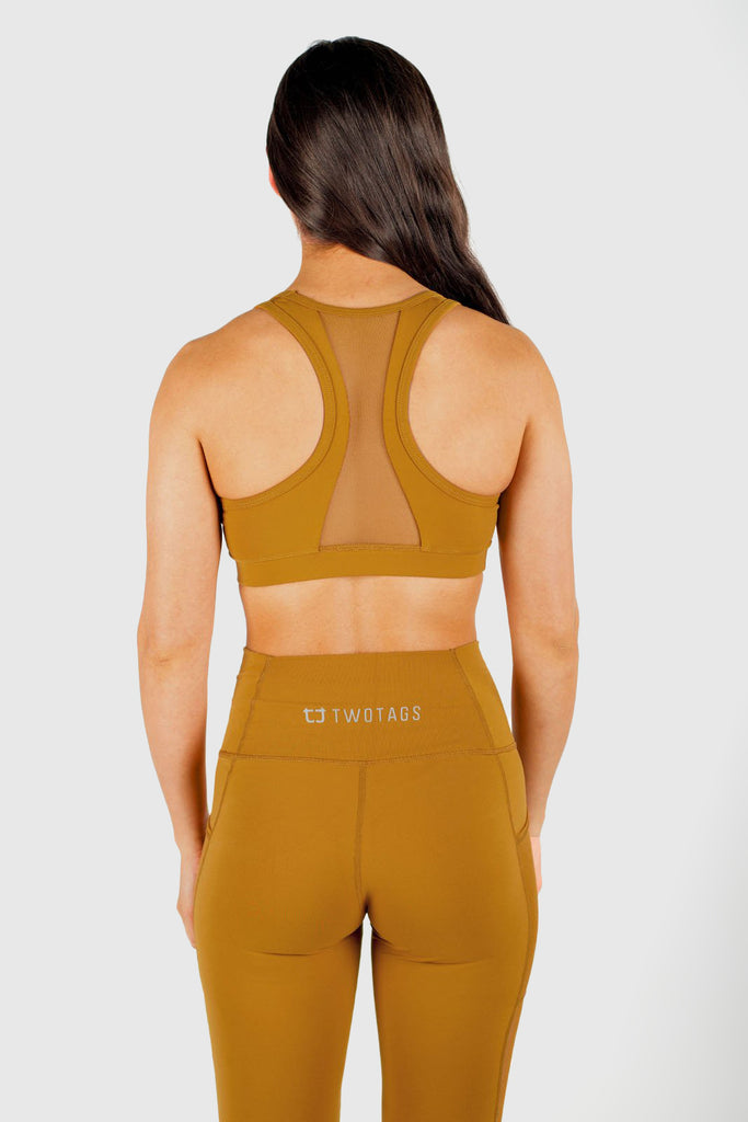 Twotags Ladies Stride Mesh Sports Bras – Mustard