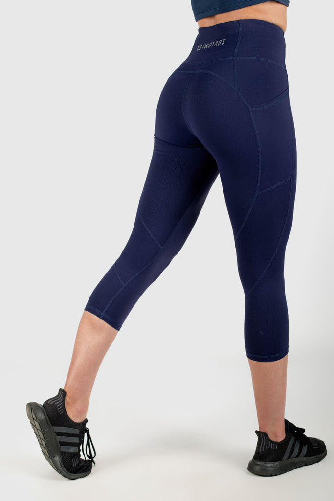 Twotags Ladies Highwaisted Sweetheart 7/8 Leggings – Navy Blue