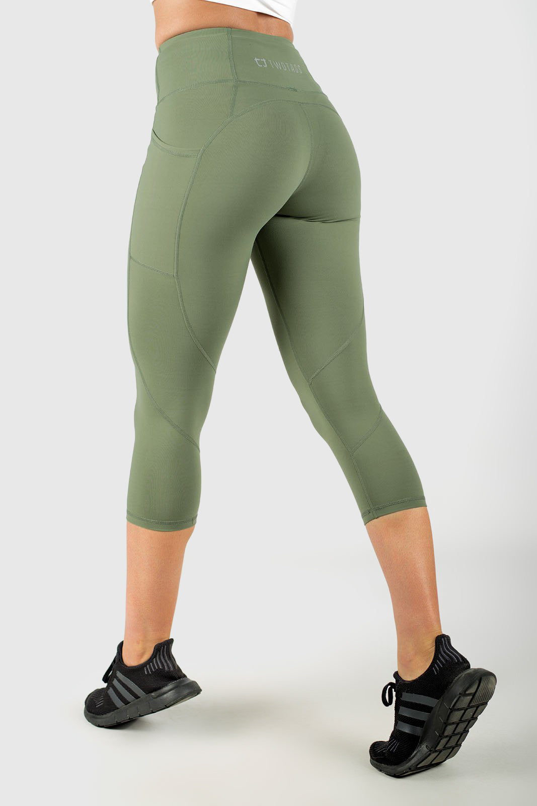 Twotags Ladies Highwaisted Sweetheart 7/8 Leggings – Olive