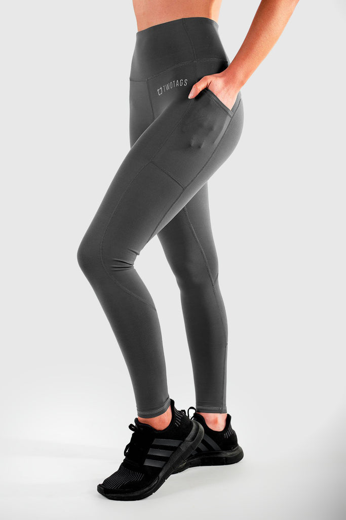 Twotags Ladies Highwaisted Sweetheart Leggings – Slate Grey