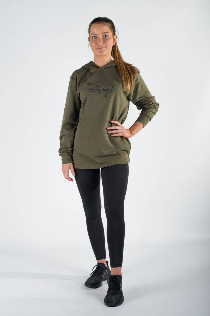 Twotags Ladies Verve Oversized Hoodie – Shadow Green