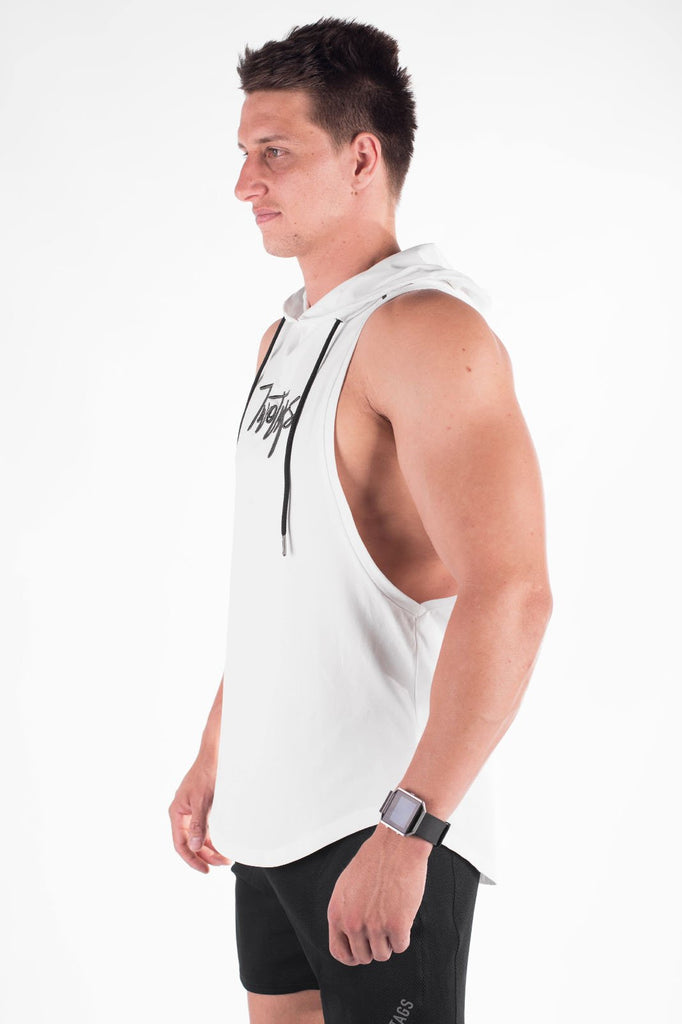 Twotags Verve Sleeveless Hoodie – White