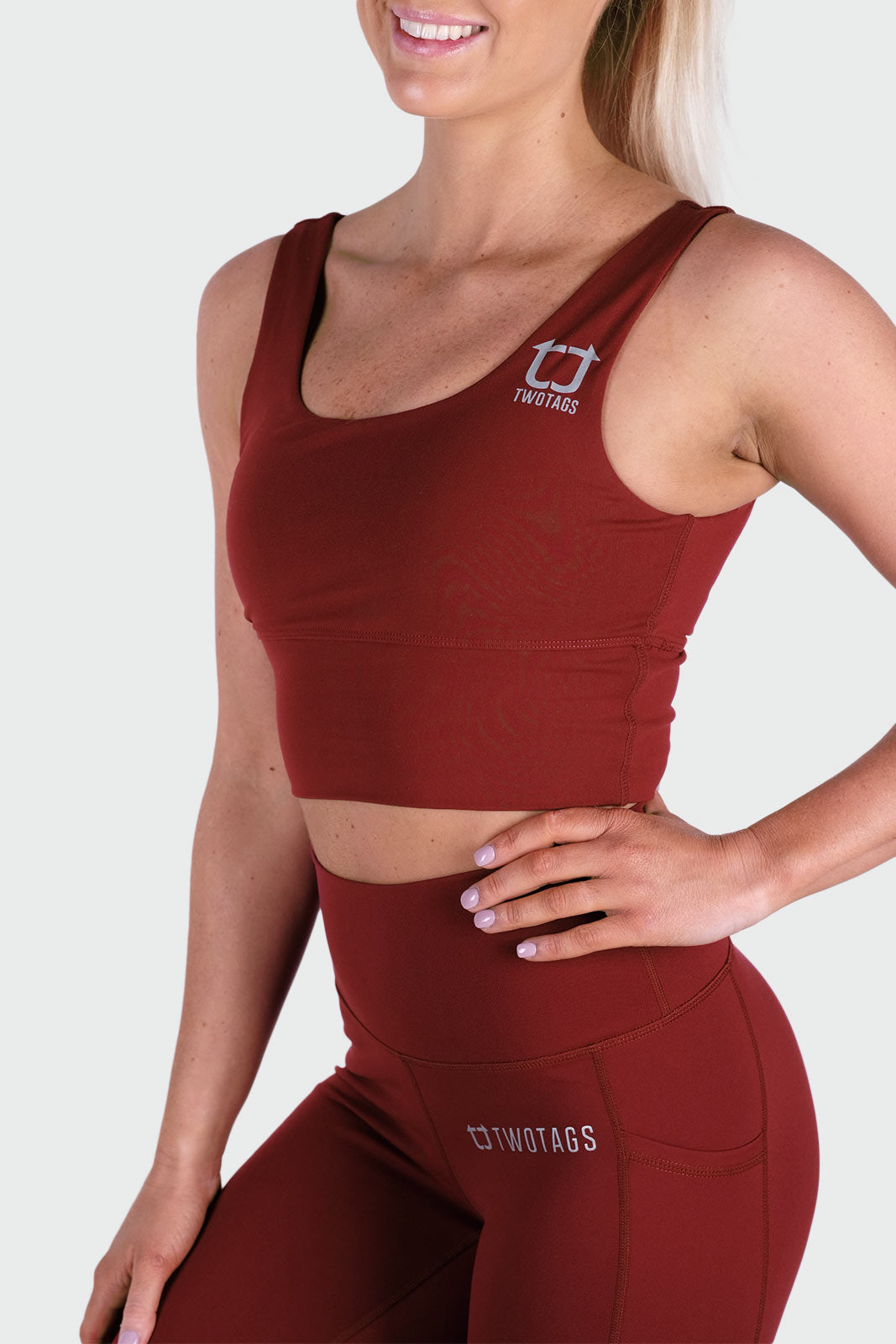 Vibe Supportive Cropped Tank - Burgundy