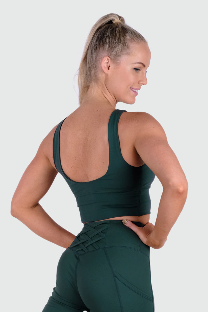 Vibe Supportive Cropped Tank - Emerald