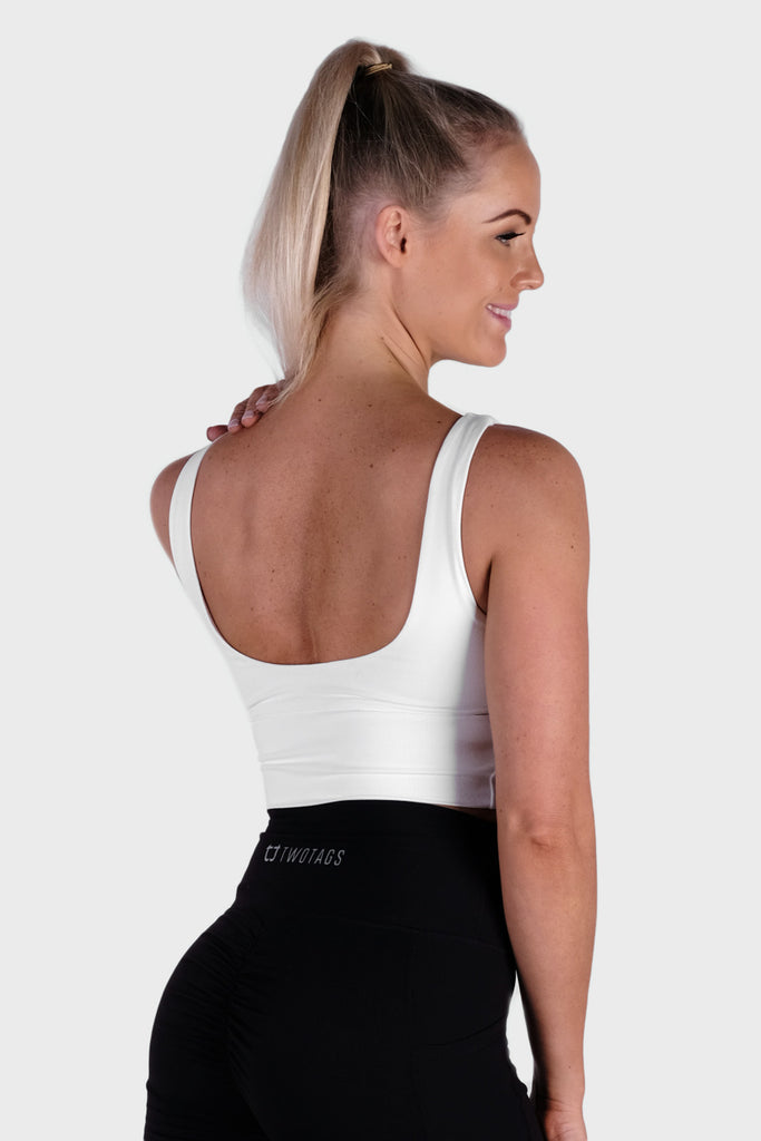 Vibe Supportive Cropped Tank - White