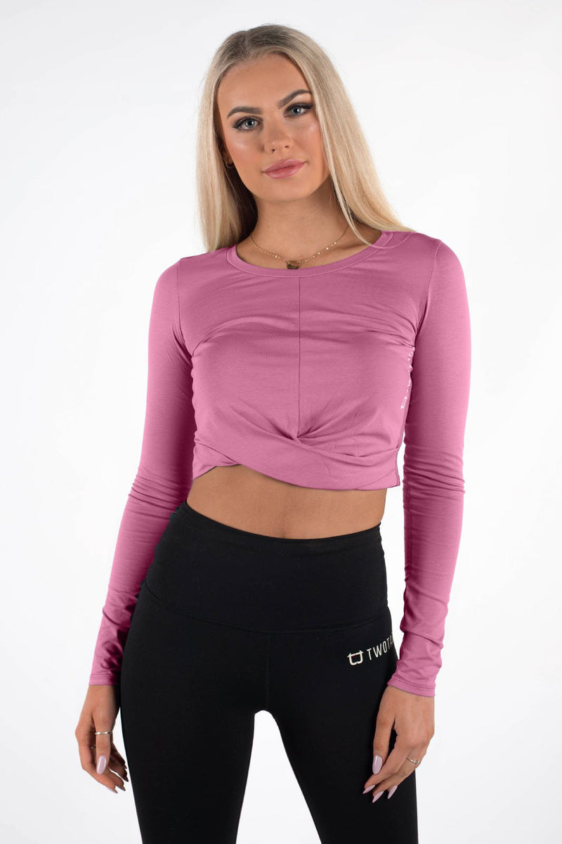 Wrap Cropped Long Sleeve - Dusty Rose