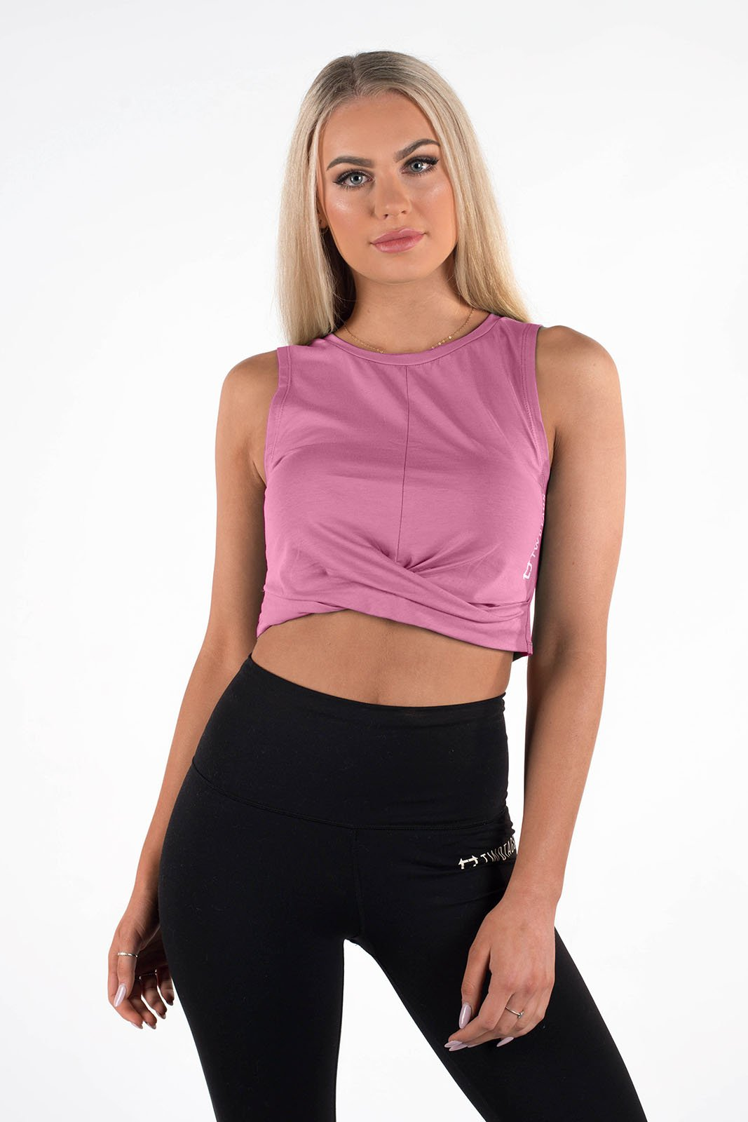 Twotags Ladies Wrap Cropped Tank – Dusty Rose