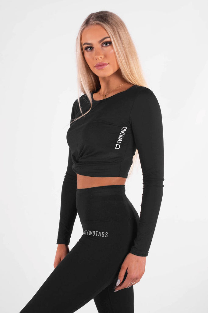 Wrap Cropped Long Sleeve - Black