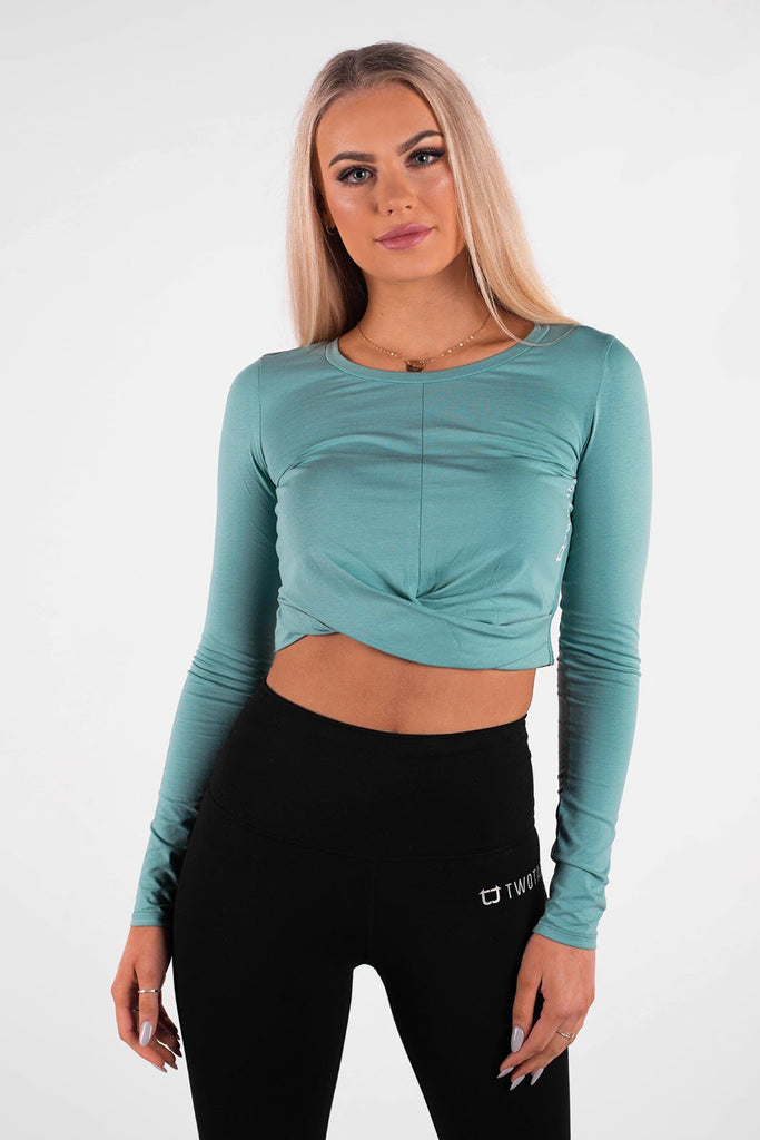 Twotags Ladies Wrap Cropped Long Sleeve – Teal