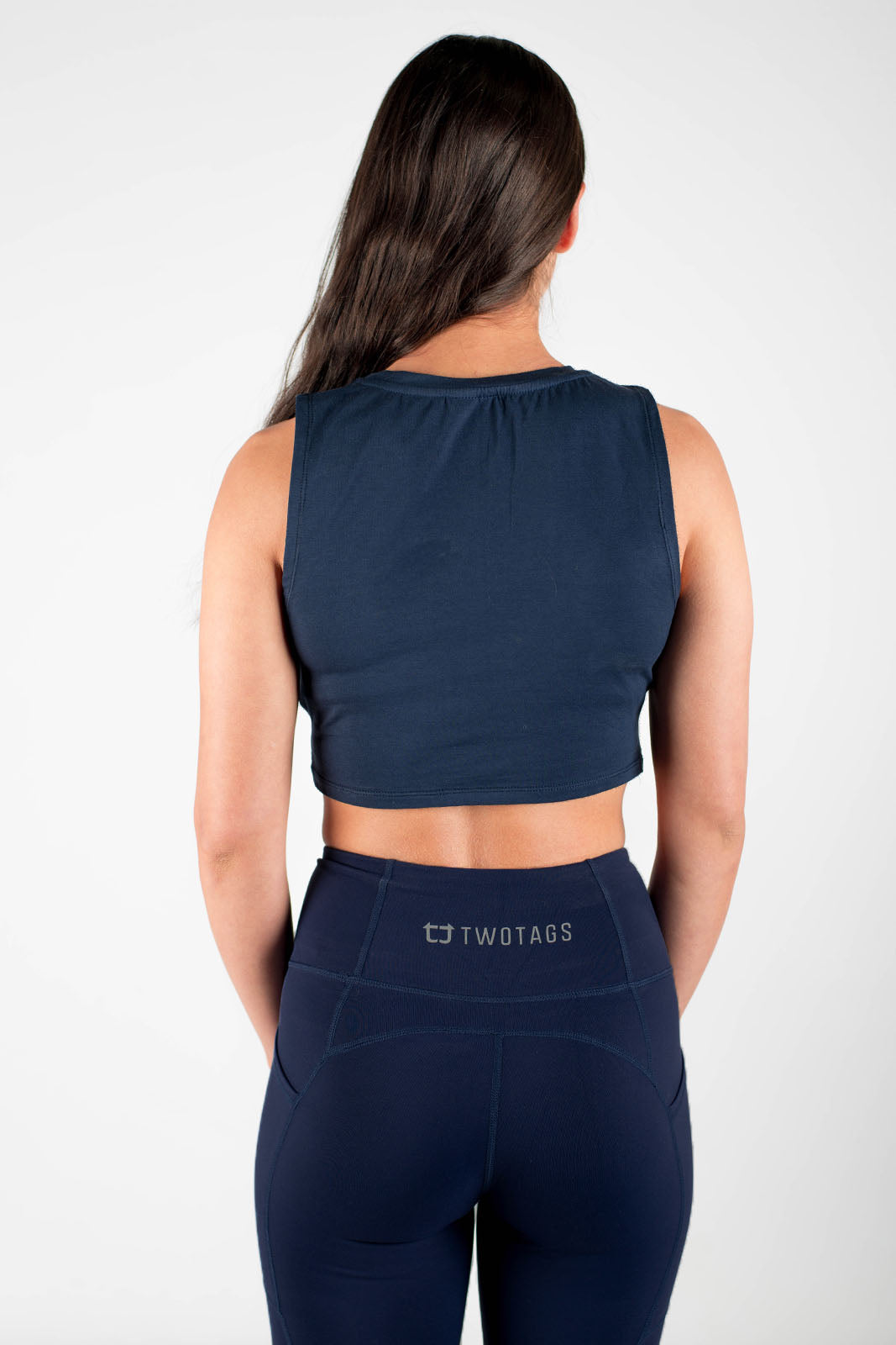 Twotags Ladies Wrap Cropped Tank – Navy Blue