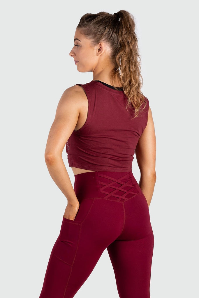 Wrap Cropped Tank - Burgundy