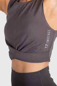 Wrap Cropped Tank - Slate Grey