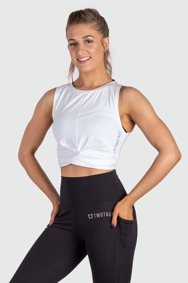 Wrap Cropped Tank - White