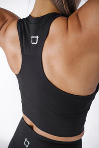 Basic Supportive Cropped Tank - Black