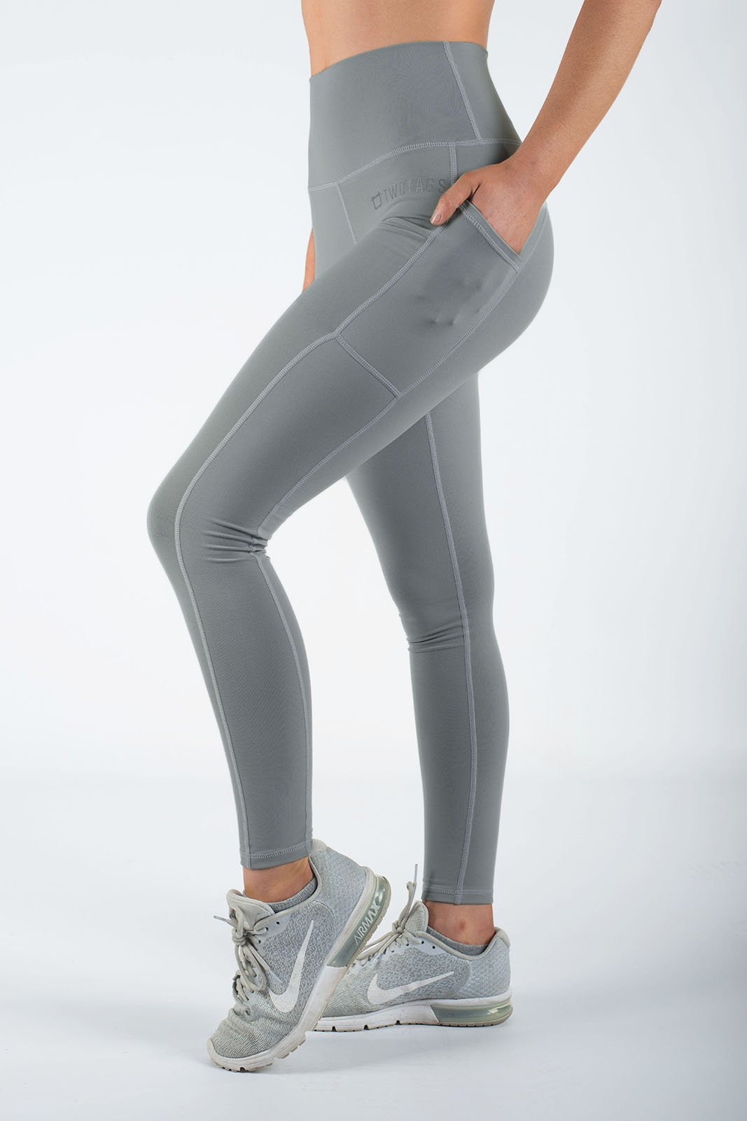 Twotags Ladies Highwaisted Core V2 Leggings – Coconut Grey