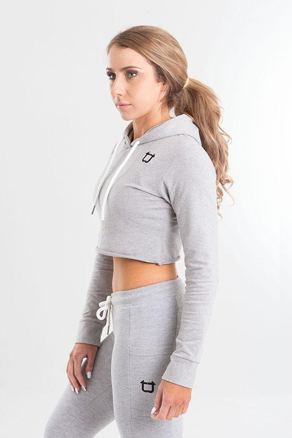 Twotags Ladies Crop Top Hoodie – Heather Grey