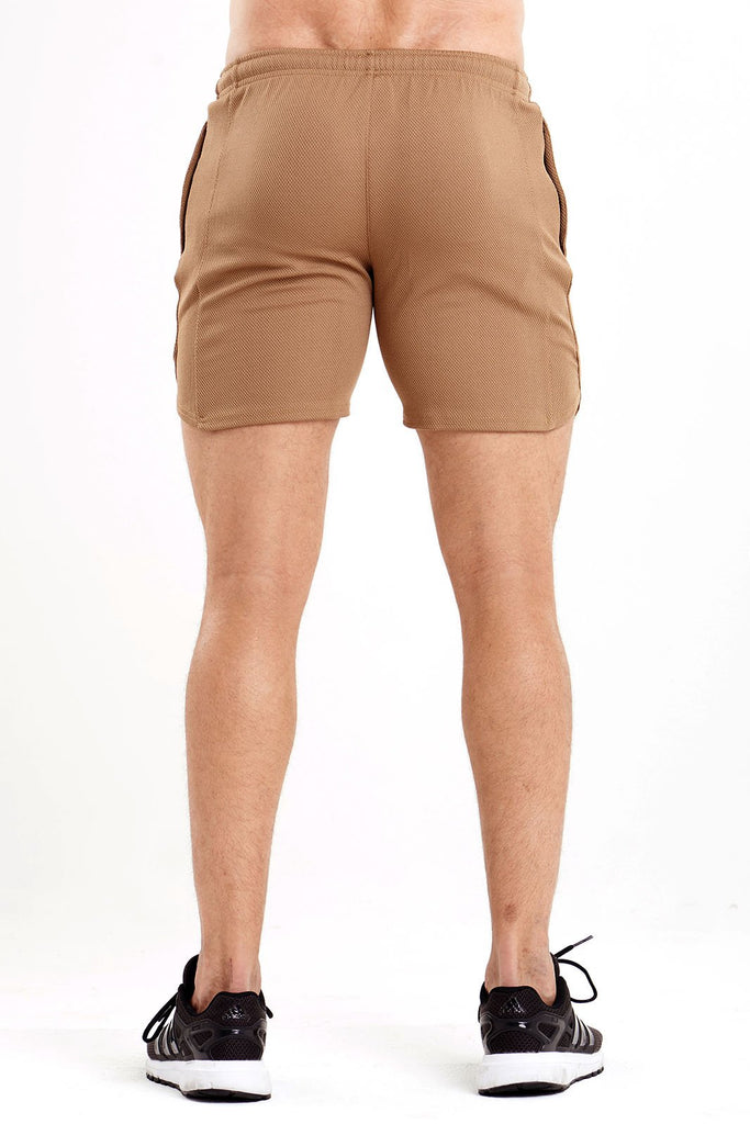 Twotags Mesh Wind Shorts - Tan Khaki