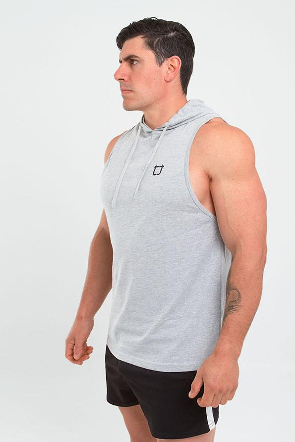 Twotags Muscle Sleeveless Hoodie – Grey