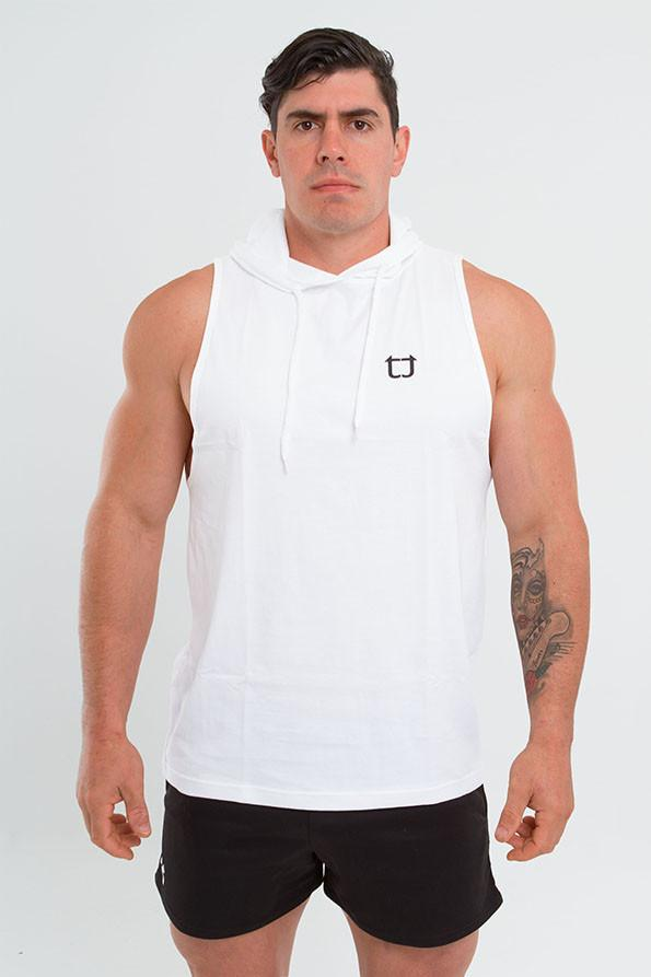 Twotags Muscle Sleeveless Hoodie – White