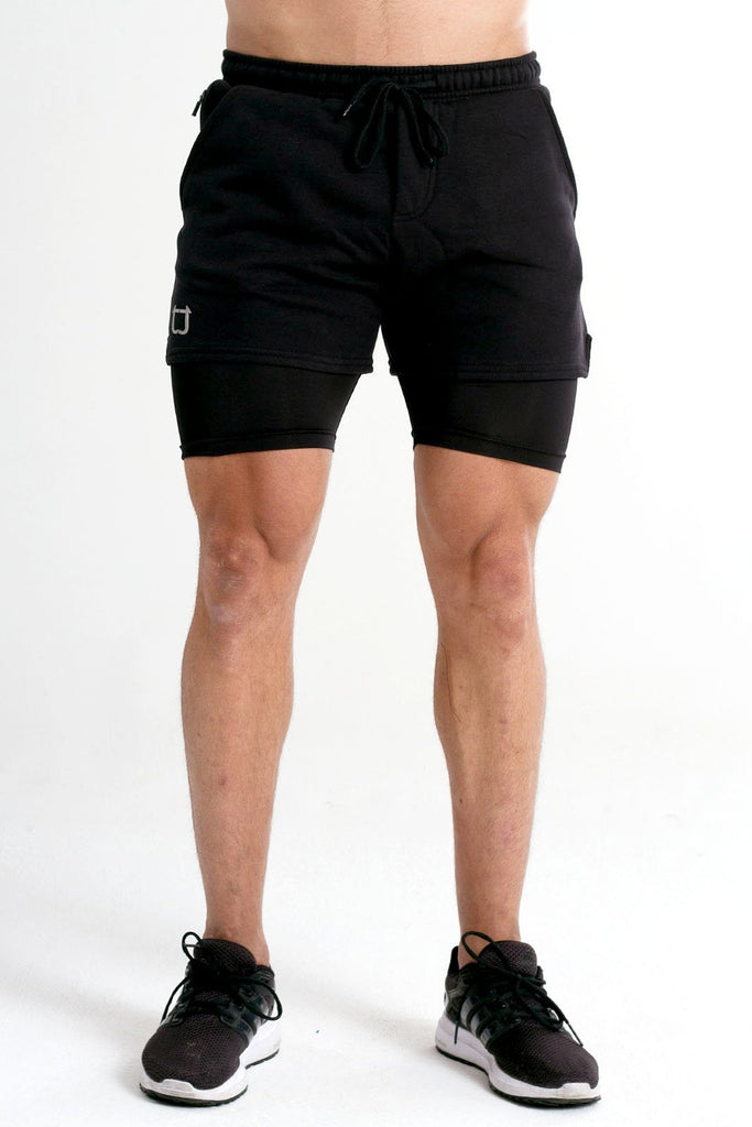 Twotags Performance Sweat Shorts - Black