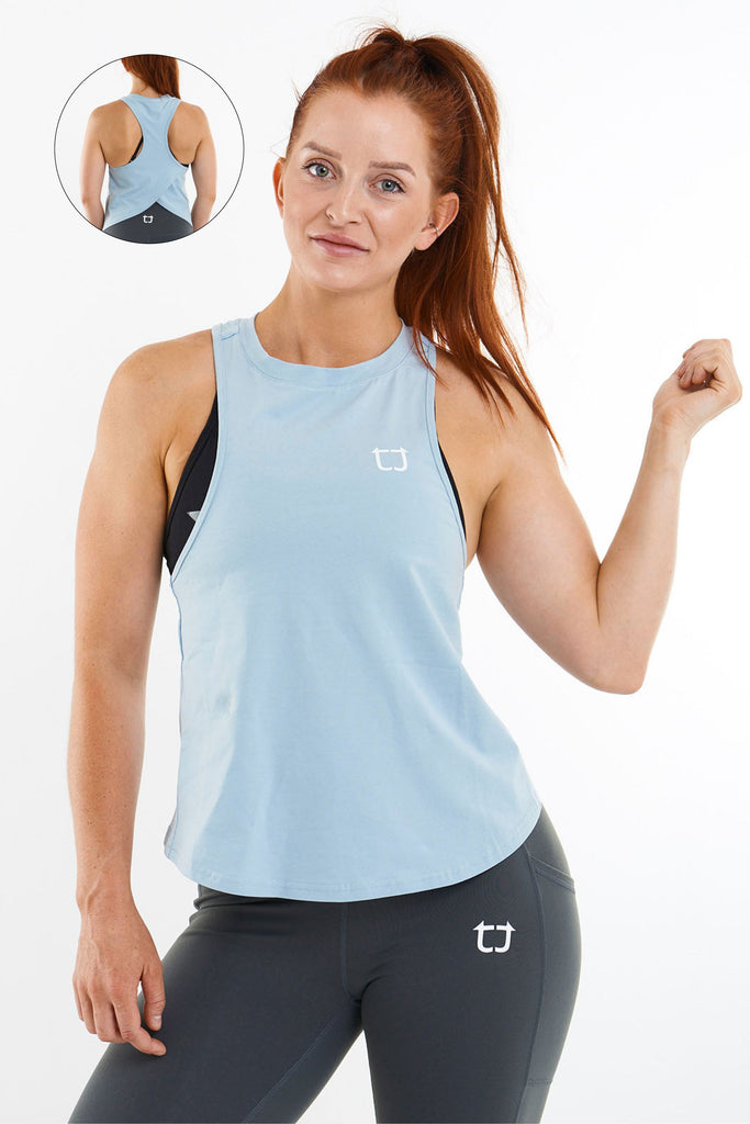 Twotags Ladies Swift Racerback Tank – Dusty Blue