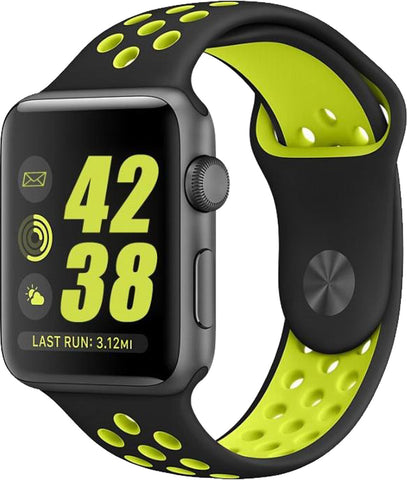 Black/Volt Yellow Replacement Wrist Strap for Apple Watch Series 1/2/3