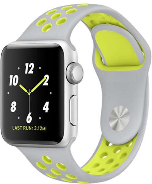 Apple Watch Band Series 1 Series 2,Soft Durable Nike + Sport Replacement Wrist Strap for iWatch(Silver/Volt Yellow)