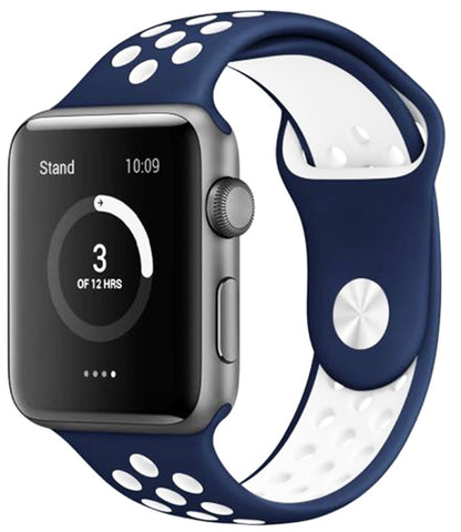 Apple Watch Band Series 1 Series 2,Soft Durable Nike + Sport Replacement Wrist Strap for iWatch(Navy Blue/White)