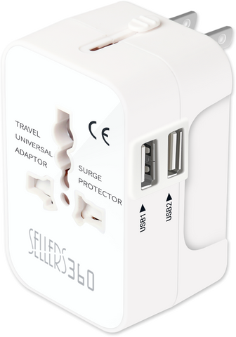 Universal All-in-One Worldwide Dual USB Travel Adapter by Sellers360