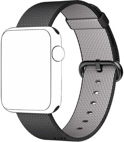 SELLERS360 Black Nylon Replacement Band for Apple Watch Series 1/2/3