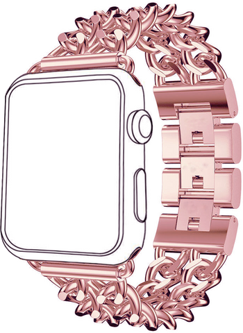 Stainless Steel Replacement Metal Band for Apple Watch by Sellers360 (Rose Pink)