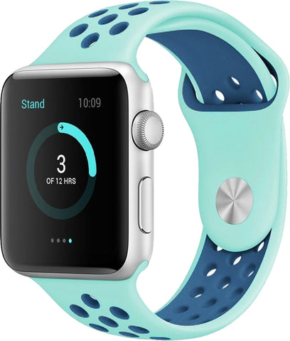 Apple Watch Band Series 1 Series 2,Soft Durable Nike + Sport Replacement Wrist Strap for iWatch(Green/Blue)