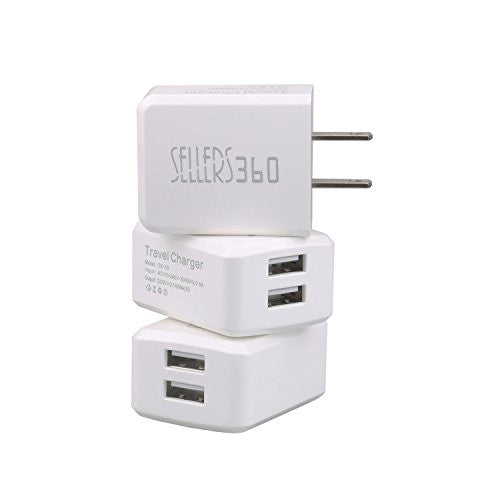 3 PACK Wall Charger with Dual USB Ports for iPhone, iPad, Samsung & LG Smartphones