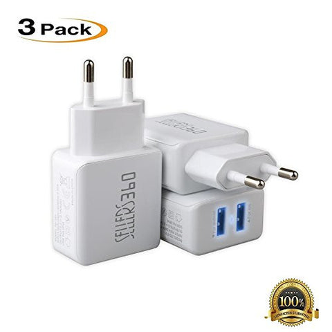 [3Pack]EU Travel Adapter Dual Port USBEuropean Wall Charger 2.1A 5V with LED light, iPhone SE/6 /6/6 Plus, iPad Air 2 / Pro / mini 3, Galaxy S7 / S7 Edge/S6 /S6Edge/Edge+,Note 5,LG G5[White]