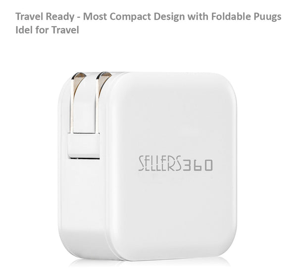 SELLERS360 Portable iPhone Dual USB Wall Charger & 2 USB Cables
