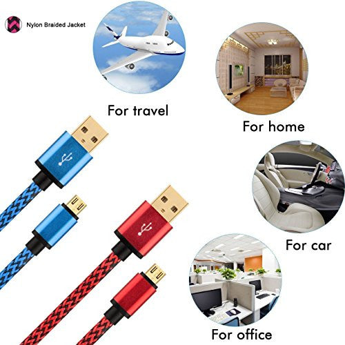[2 Pack]S7 S6 Edge Micro USB Charging Cable Gold Plated,Charger Chord Samsung Galaxy S4,S5,Note4 / Edge,Tab A S2 Pro HTC, LG.S6, LG,Nokia Lumia, Moto, ZTE, Huawei P8/P6/Honor/Ascend ETC.[Red/Blue]