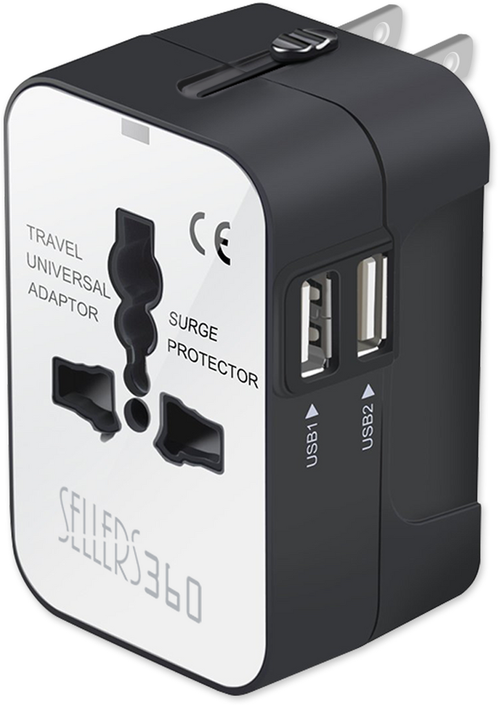 Universal All-in-One Worldwide Travel Adapter with Dual USB Ports