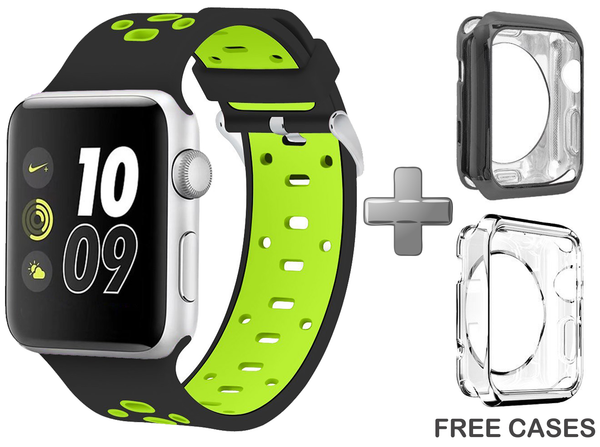 Black/Green Replacement Wrist Strap for Apple Watch Series 1/2/3