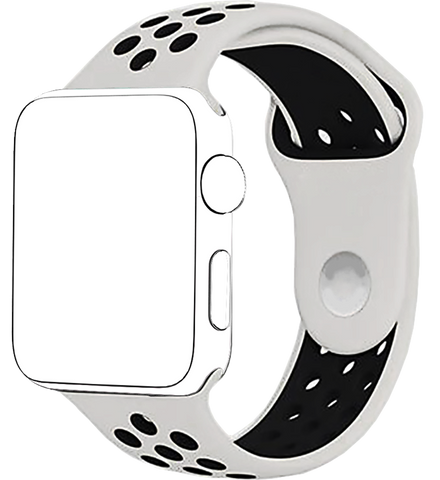 White/Black Apple Watch Band for Series 1 Series 2, 42mm and 38mm Models