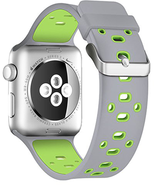 Apple Watch Band Series 1 Series 2,Soft Durable Nike + Sport Replacement Wrist Strap for iWatch (Grey/Green), New
