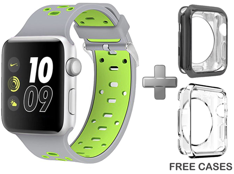 Replacement Band for Apple Watch Series 1/2/3 (Grey/Green)
