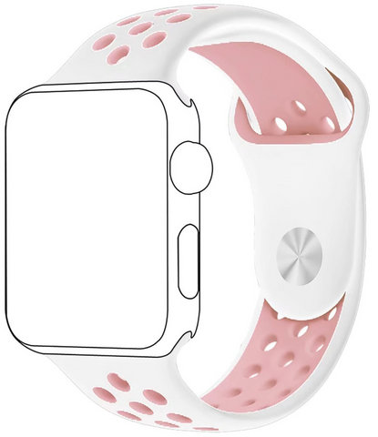 Apple Watch Band Series 1 Series 2,Soft Durable Nike + Sport Replacement Wrist Strap for iWatch(Pink/White)