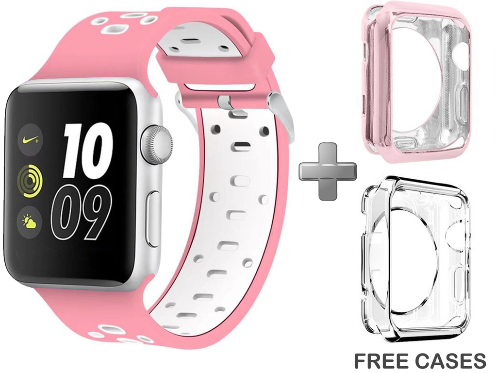 Replacement Band for iWatch Series 1/2/3 Pink/White by Sellers360