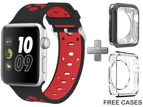 Red/Black Apple Watch Band for Series 1 Series 2, 42mm and 38mm Models