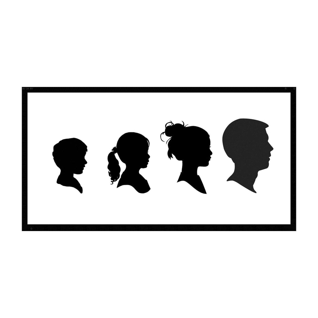 Family of 3 or 4 silhouette plaque + frame