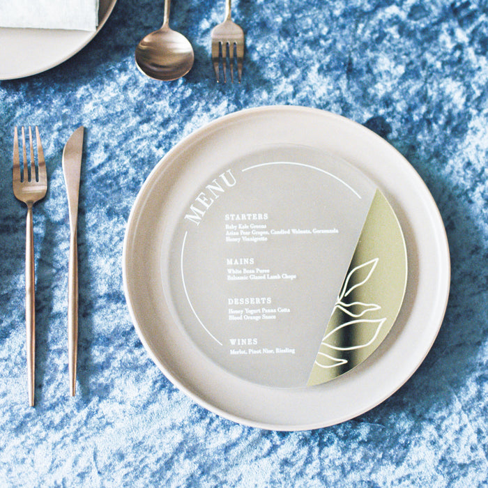A Hint of Gold Wedding Menu by HellofromFlour x Urban Li'l