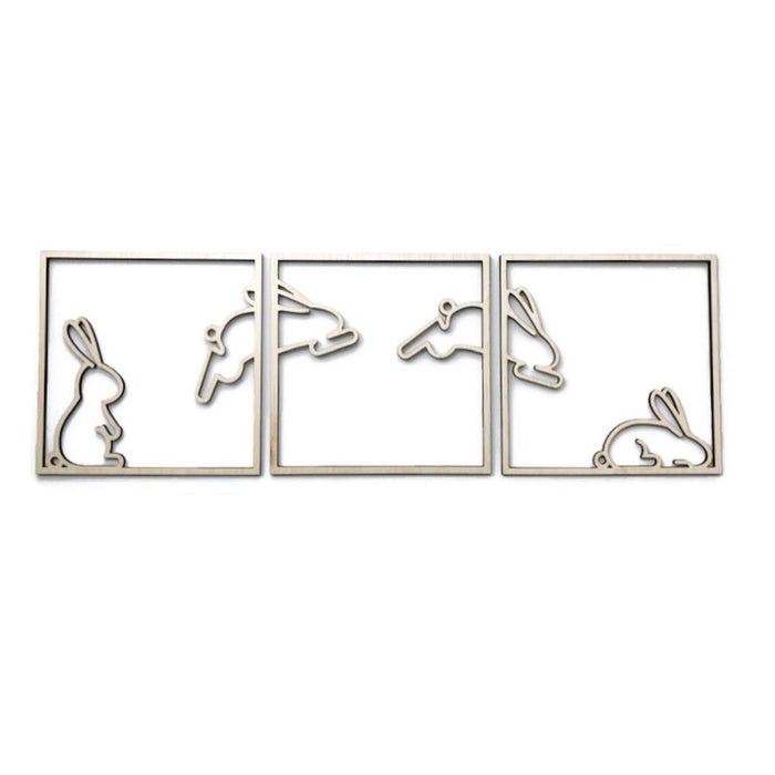 Bunny Hop Easter Squares Wall Decal or Plaque