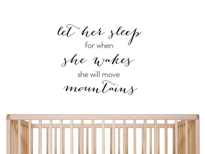'Let her sleep' Wall Decal