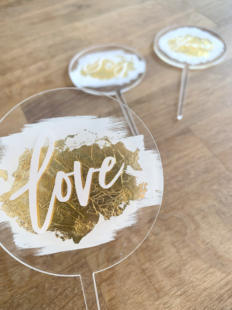Custom Gold Swash Cake Topper
